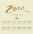 Calendar 2014 text paint brush vector image vector image