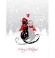 Christmas Eve Couple of santa cats together vector image