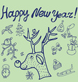 Christmas sketch Congratulations with New year in vector image vector image