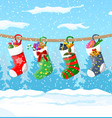 christmas sock stocking winter landscape vector image vector image