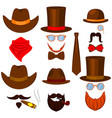 colorful cartoon 6 western man avatars set vector image vector image