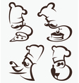 cooking symbols food and chief silhouettes vector image vector image