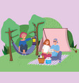 couple with tablet blanket and woman in hammock vector image
