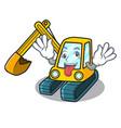 crazy excavator mascot cartoon style vector image vector image