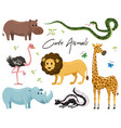 cute animals for bawild giraffe rhinoceros vector image vector image