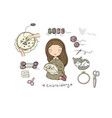 cute cartoon girl embroiders a beautiful pattern vector image