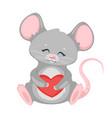 cute rat holding heart cartoon character vector image