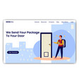 delivery man at door vector image vector image