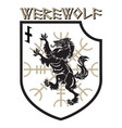 design patch heraldic shield with a werewolf vector image vector image