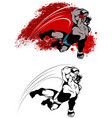 expressive fighter in jump vector image vector image
