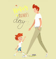 father and son walking together happy father day vector image vector image