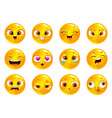 funny cartoon yellow round faces emoji collection vector image
