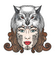 girl with a mask of a wolf vector image vector image
