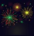 golden green red fireworks set over night sky vector image vector image
