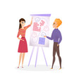 guy and girl are planning project vector image vector image