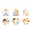 happy family modern lifestyle icons set travel vector image