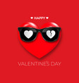 happy valentines day red heart in black hipster vector image vector image