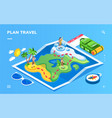 isometric map with traveler tourist route vector image