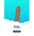 italy pisa time to travel travel poster vector image vector image