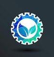 leaves gear icon button logo symbol concept vector image