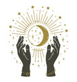 magic hands holding moon hand drawn mystical arms vector image vector image
