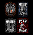 music t-shirt design set vector image vector image