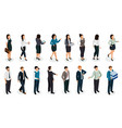 office people isometric set vector image vector image