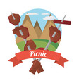 picnic grilled food with mountains background vector image