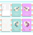 postcard invitation template set with cute unicorn vector image