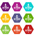 process 3d printing icons set 9 vector image vector image