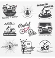 Rent sale and repair - bicycles mopeds and vector image vector image