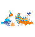 reversed or upside down political map of world vector image vector image