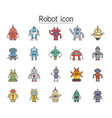 robot icon set filled outline style colorful vector image vector image