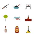Russian traditional elements icons set flat style vector image vector image