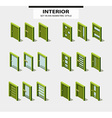 Set of doors in isometric style with design vector image