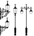 Set of vintage various streetlamp vector image