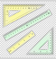transparent ruler and triangles centimeter vector image vector image