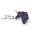 unicorn head silhouette with pink magic texture vector image