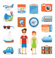 Vacation And Travel Flat Icons Set vector image vector image