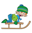 boy on a snow sled vector image