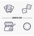 gambling simple line icon card dice casino chip vector image