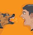 angry man angry dog vector image vector image