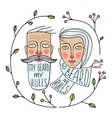 Bearded Man and No Beard Woman Portraits vector image