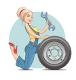 Beautiful girl mechanic with vector image vector image