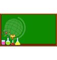 Blackboard and science beakers vector image vector image