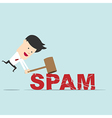 business man use hammer try to break spam word vector image
