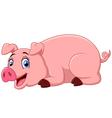 cartoon pig lay down vector image vector image