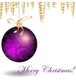 Christmas bauble and golden ribbons vector image