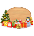 Christmas Gifts with Oval Board vector image