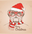 christmas hipster fashion animal bulldog vector image